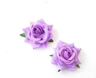 2x Lilac Light Purple Rose Flower Hair Clips Fascinator Bridesmaid Floral 6531