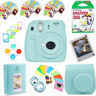 Fujifilm Instax Mini 9 Instant Film Camera Ice Blue + Film Decorative Fun Bundle