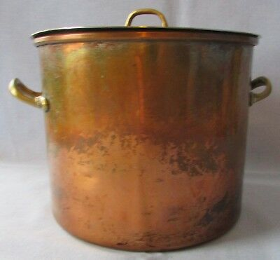Vintage Covered Copper Tinned Cookware With Brass Handles