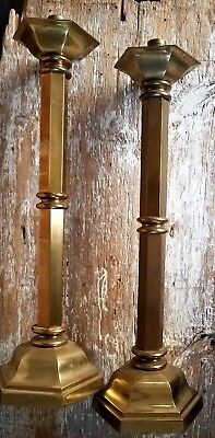 """VTG Large/Huge Candle Stick Holders Bronze Brass 20"""" Pair Heavy Mid Century Mod"""
