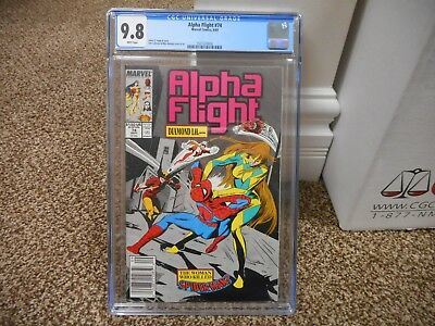 Alpha Flight 74 cgc 9.8 Marvel 1989 Spiderman Wolverine UPC NEWSSTAND variant cv