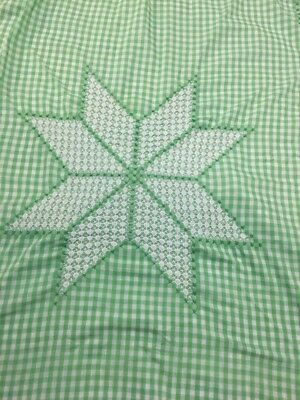 Vintage Chicken Scatch Star Pattern Gingham Farm House Oblong Tablecloth 60X66