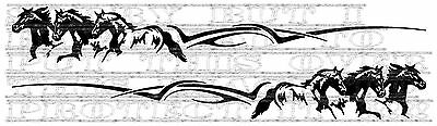 Pair Horse Trio Tribal Trailer Vinyl Side stripe graphic decal not saddle bridle