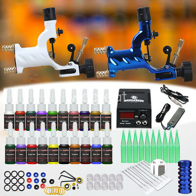 Tattoo Kit Supplies Set  2 Rotary Machine Gun 20 Color ink Needle Power Tip Grip