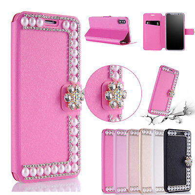 Bling Diamond Pearl Magnetic Leather Wallet Flip Case For iPhone XS Max/XR/X/7/8