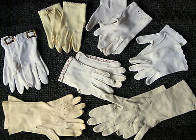 Vtg Fashion Dress Gloves Lot Yellow White Embellished Leather Miss Aris Driving