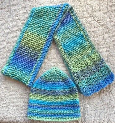 Hand Knitted Scarf and Beanie Hat Set Mixed Colors Blues, Greens and Purples