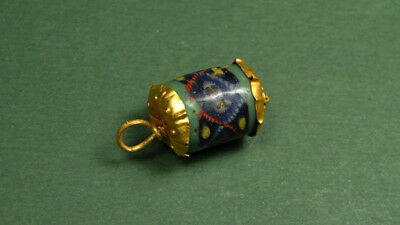 Gold & Mosaic Faced Bead, Rare , Egypt Late Period, 500-100 Bc.