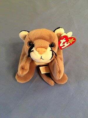 Ty Beanie Baby Canyon Cougar Mountain Lion Retired 1998, PE Pellets