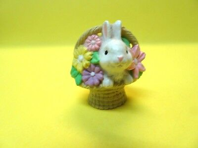 """Hallmark 1984 Merry Miniature Easter Bunny In Flower Basket w/Gold Tag 1.5"""" tall"""