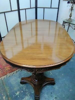 Antique Style Large Double Extension Dining Table On Carved Twin Pedestal Base