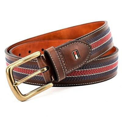 Tommy Hilfiger Men's Center Stripe Stitch Casual Belt Tan