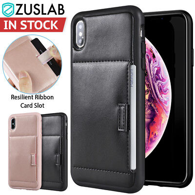 iPhone X XS Max XR Case Shockproof Card Slot Heavy Duty leather Wallet Cover