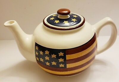 Vintage Ceramic Teapot With  Lid, Dressed In Usa Flag : Jay Import Company.