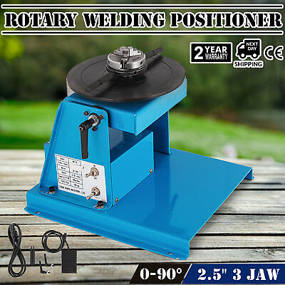 """10kg Rotary Welding Positioner Turntable Mini 2.5"""" 3 Jaw Lathe Chuck w/ Pedal"""