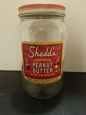 Vintage Shedd's Peanut Butter Gkass Jar Detroit MI Michigan Rare