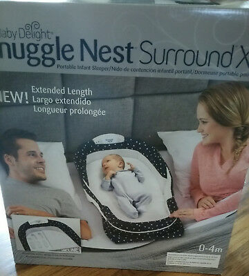 Baby Delight Snuggle Nest Harmony Portable Infant Sleeper Bed - Navy Dots