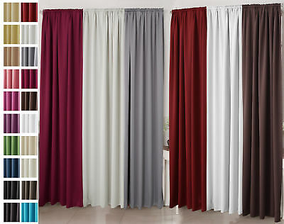 Blackout Pencil Pleat Tape Top Curtains with Tiebacks Ready Made Pair uCTN02-2