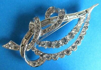 MARCEL BOUCHER Vintage Brooch Decorated With Clear Rhinestones.