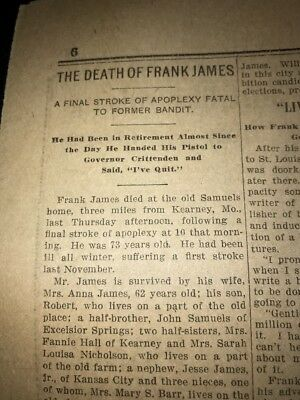 1915 ewspaper Account Death Of Outlaw Frank James Brother Of Jesse James R68