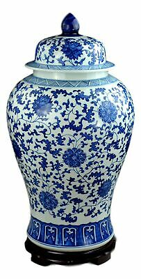 "Festcool 24"" Classic Blue and White Floral Porcelain Ceramic Temple Ginger Ja..."