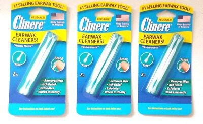 New 3 pack Clinere Reusable Earwax Cleaners Removes Wax