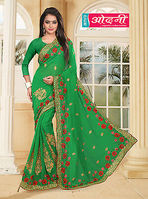 Women's Indian Bollywood Green Georgette Party Wear Designer Embroidered Saree