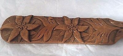 "ANTIQUE Victorian era FOLK ART HAND CARVED BLACK FOREST spoon 9.5"" long, treen"