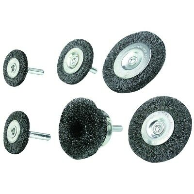 Wire Wheel/Cup Brush, Carbon steel Wire, Set 6 Pc
