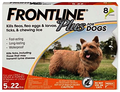Frontline Plus For Small Dogs 5 - 22 lbs - 8 Month Supply Doses Pack 5-22 lbs