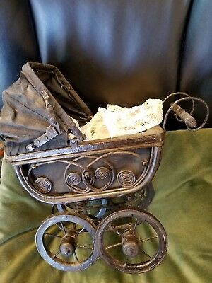 Vintage Antique Victorian Style Doll Buggy/Baby Carriage (Canvas,Wood and Iron)