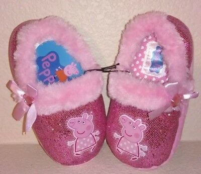 NEW NWT Peppa Pig Slippers Toddler Size 6 Pink Sparkle With Fur Heart Jewel