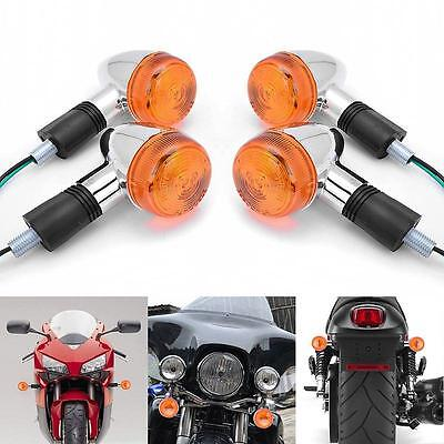 4x Light Motorcycle Amber Chrome Bullet Rear Turn Signal Blinker Indicator BY
