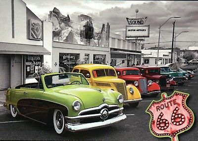 Old Cars on Route 66, Chicago Illinois to Santa Monica California CA -- Postcard