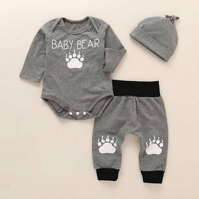 Newborn Baby Boy Girl Winter Clothes Set BABY BEAR Romper Pant Hat Outfit Suit