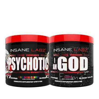 Insane Labz PSYCHOTIC & I AM GOD  Pre Workout Stack Extreme Energy