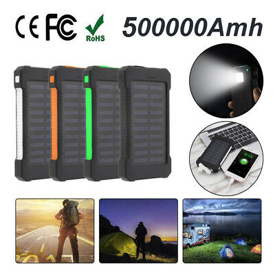 500000mAh 2 USB Portable Solar Battery Charger Solar Power Bank for Phone BR