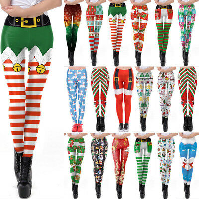 UK Womens Christmas Xmas Santa Snowman Printed Stretchy Leggings Trouser Pants