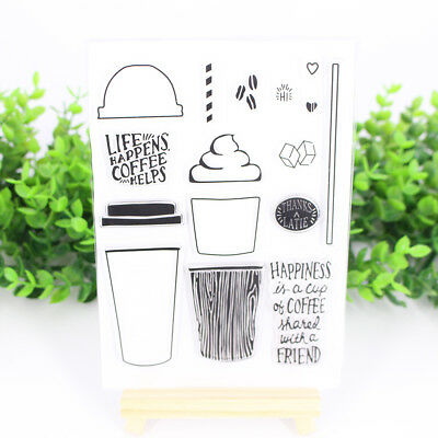 Coffee Cup Silicone Clear Stamp Seal Transparent DIY Scrapbook Paper Crafts UK