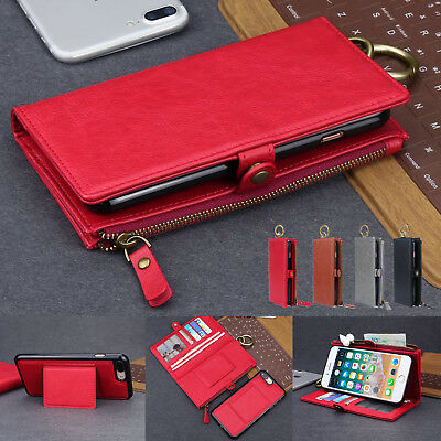 Detachable Leather Wallet Zipper Pouch Purse Stand For iPhone XS max XR 8 7+ 6S