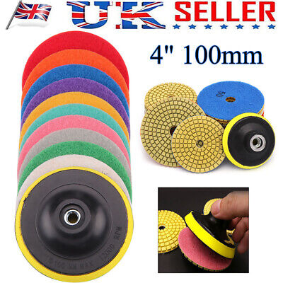 "11x 4"" Disc Grinder Diamond Polishing Pads Kit For Granite Concrete Marble 100mm"