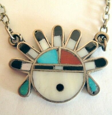 Zuni Sunface Sun Face Tiebar Necklace Mosaic Inlay Sterling Silver .925 Turquois