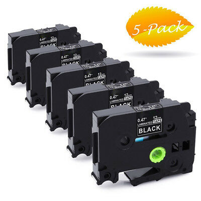 5PK White on Black Ptouch Label Tape 12mm Compatible with Brother P-Touch Refill