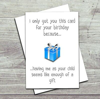 Funny Birthday Card Mum Dad Mother Father Joke Adult Humour
