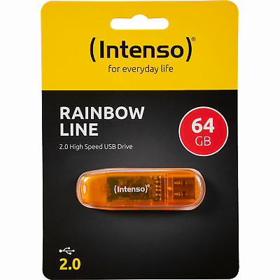 USB 2.0 Stick INTENSO, 64GB, Rainbow Line, Speicherstick 64 GB orange USB Stick