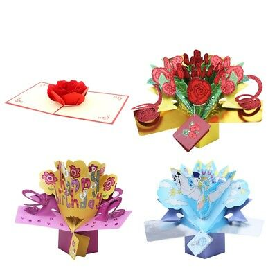 USA Floral Bouquet 3D Pop Up Cards Valentine Days Anniversary Love Cards Gifts
