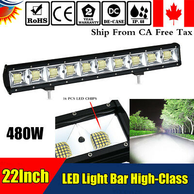 22'' Inch Quad-row LED Work Light Bar Combo Offroad Driving Lamp Car Trucks Boat