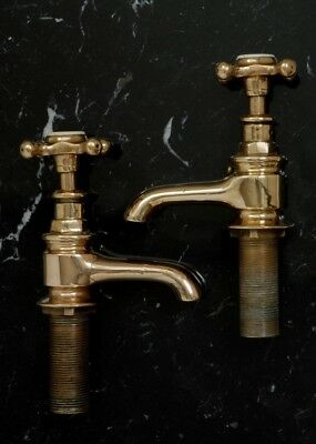 Antique Victorian Brass Bath Taps Vintage LARGE Size Fully Refurbished Bathroom