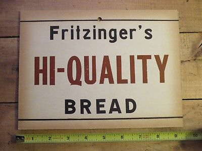 Vintage FRITZINGER's Hi-Quality Bread Cardboard Sign ! Pennsylvania Pa ! COOL !