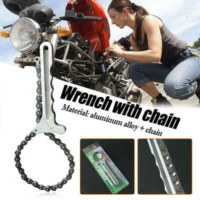 Handle Aluminum Heavy Duty Oil Filter Chain Wrench Oil Auto Car Pipe Tool